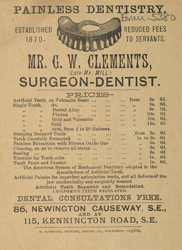 Advertisement for G W Clements, surgeon dentist
